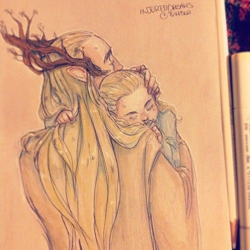Sweet dreams little leaf.! - Thranduil (we don't know who Legolas's mother was or what happened to her...that makes this picture feel like a glimpse of that story)