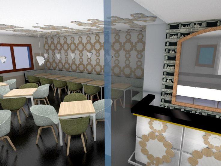 Proyecto restaurante italiano. Zona comedor y estar