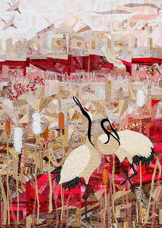 """Cranes II, 34 x 48"""" , by Anne Standish"""