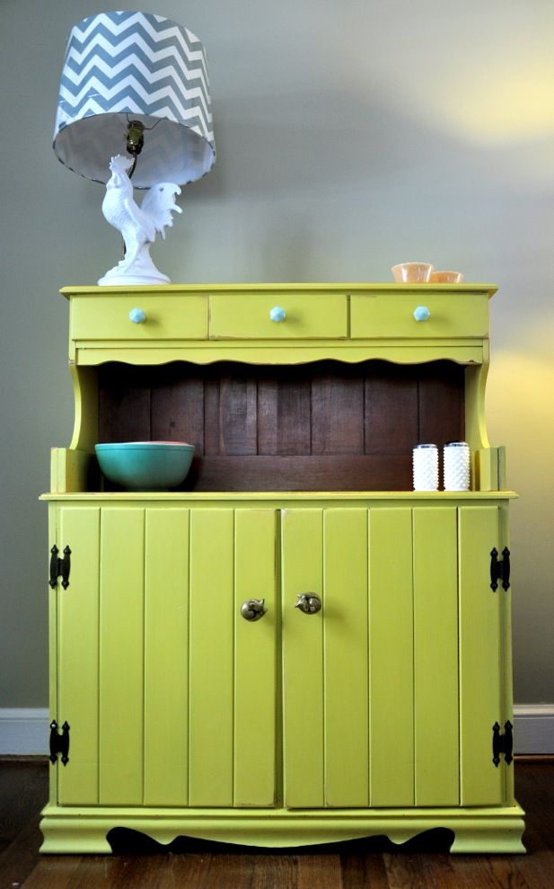 DIY Update To Vintage Hutch With A Fun Rooster Lamp