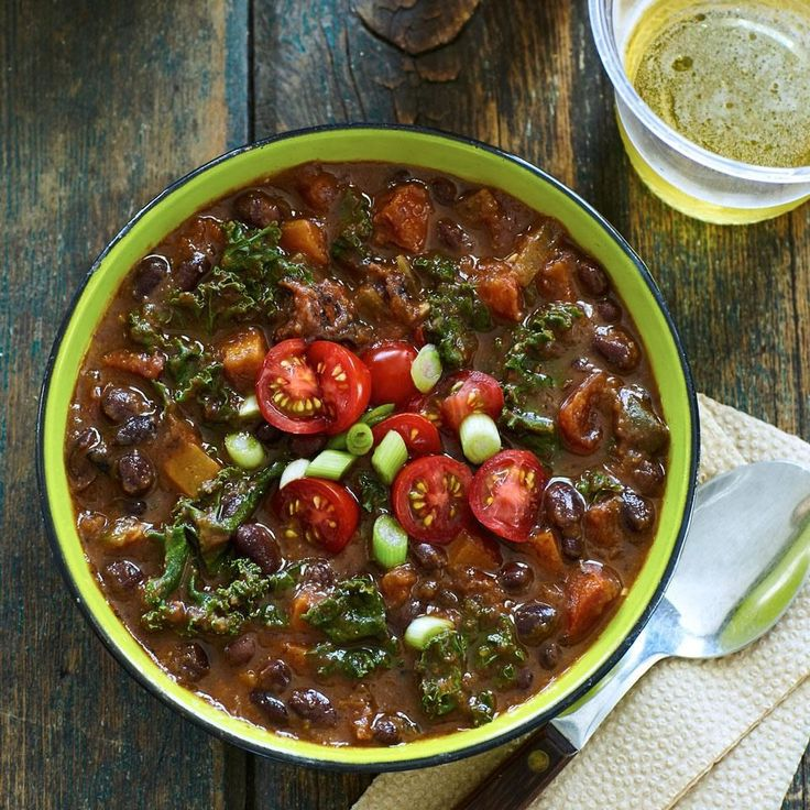 Blackened jalapeños, fire-roasted tomatoes and smoked paprika provide the Brazilian flair to this vegetarian bean soup. #DinnerTonight