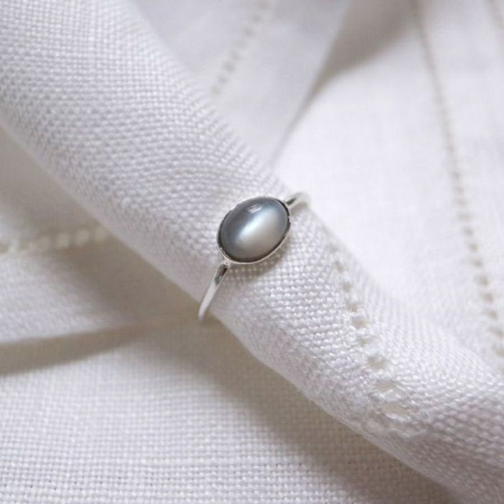 Gray Moonstone Ring