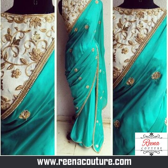 Designer Satin Georgette Saree with pitta work blouse saree with border and Butti.  For more details please call or whatsapp on 09819416785 or share your number we will call you.  http://www.reenacouture.com/  #gownsforcheap #designerdressesforcheap #designer #dresses #for #cheap #discounted #sale #customized #western #dress #bridal #replica #Bollywoodlook #plus-size #plus # size #xxxl #xxxxl #5xl #tailors #whole-seller #beautifulCollection #Celebrity #party #IndianFashion #Trend #Offers…