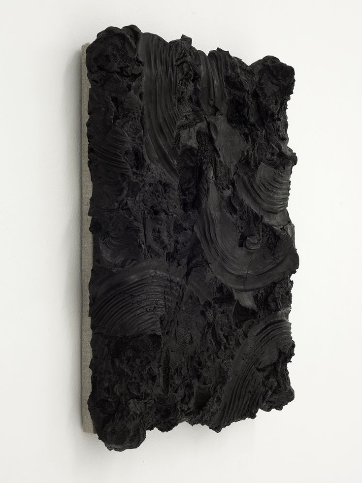 Peter Wu | Substantia Nigra (Figure 1), 2013 | Air-dry clay, India ink, mounted on linen and wood