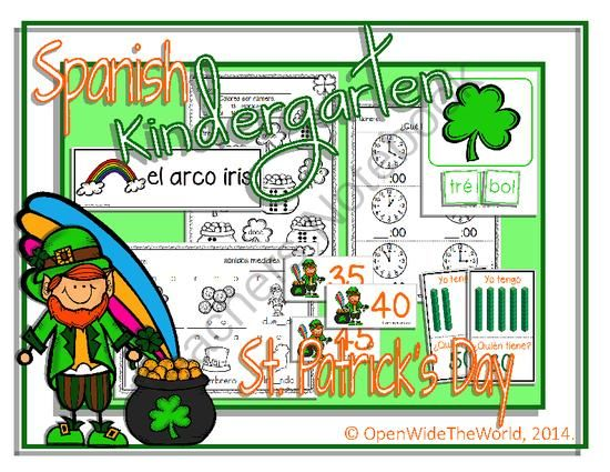Spanish Dual Language Kindergarten St. Patricks Day Packet from Open Wide the World on TeachersNotebook.com -  (40 pages)  - Spanish dual language/immersion St. Patrick's Day math and literacy kindergarten pack. (Grade 1 in some Canadian provinces) No English on student pages!