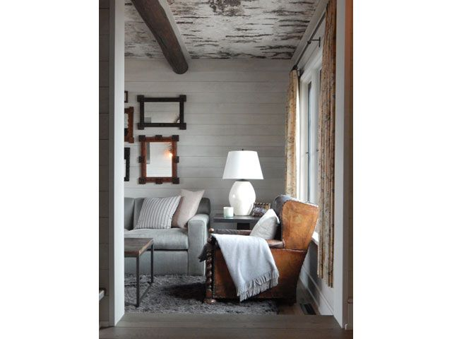 """Alecia Stevens Interiors """"On the Lake"""" - crazy good birch ceiling, antique chairs and short curtains!"""