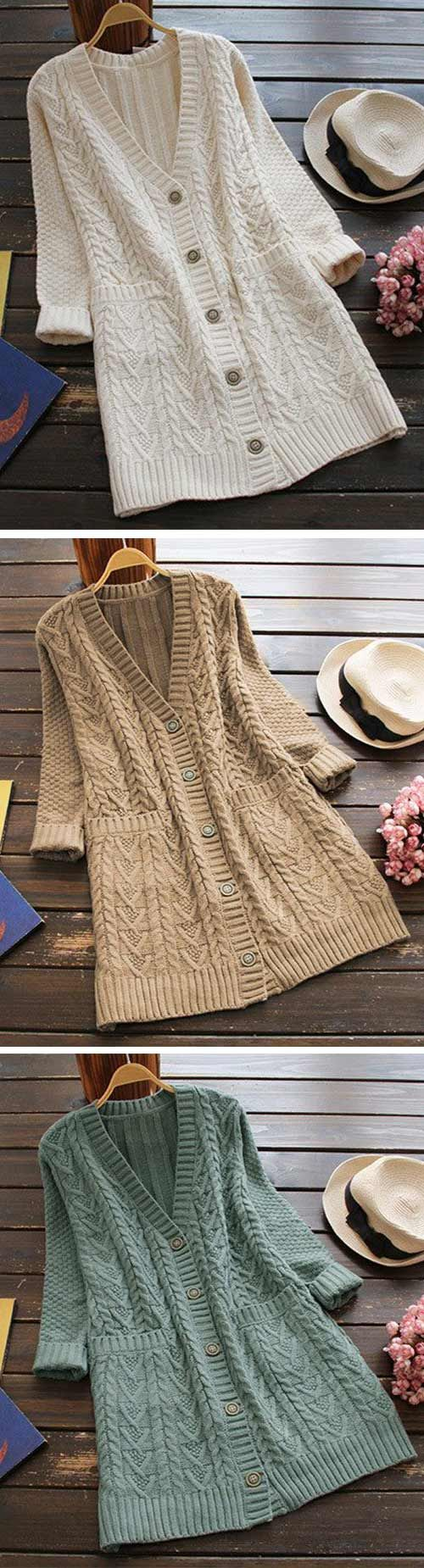 Only $31.99 Free shipping! That's it. Go wherever the wind takes you in the Full Exposure Twist Long Sweater Cardigan. Keep it simple this season with its twist pattern and lovely pockets at sides. Show off now!