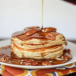Banana Pancakes, with brown butter and toasted pecans. Good Morning...