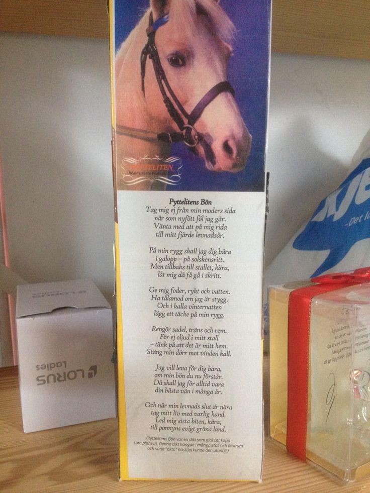 Nostalgi... Den viktigaste bönen när jag var liten hästtjej. Pytte stod i Baståsen.