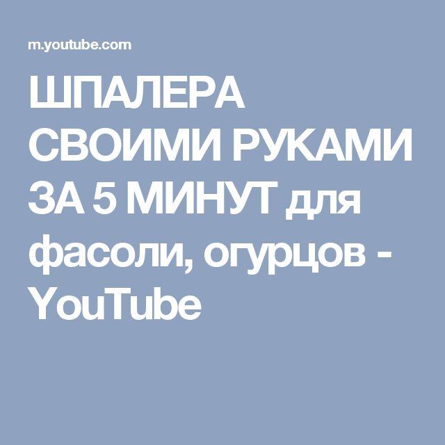 ШПАЛЕРА СВОИМИ РУКАМИ ЗА 5 МИНУТ для фасоли, огурцов - YouTube