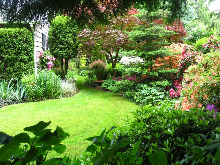 """From LeafPeeper: """"This is a view of my side/secret garden as taken from under our large cedar trees. This is a late spring view as azaleas and rhododendrons are still blooming."""""""