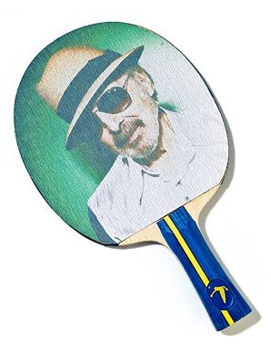 This custom racket is a production of Table Tennis Nation, a New York-based outfit founded by Reisman.