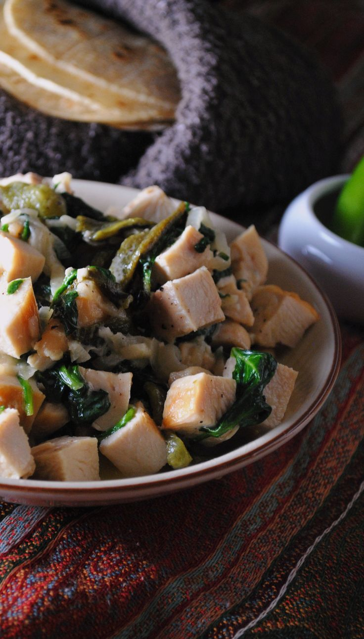 ... Creamy Chicken and Greens with Roasted Poblano and Caramelized Onion