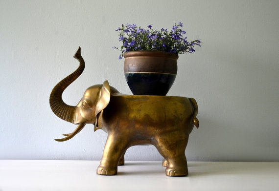 Reserved Vintage Brass Elephant Large Plant Stand Low