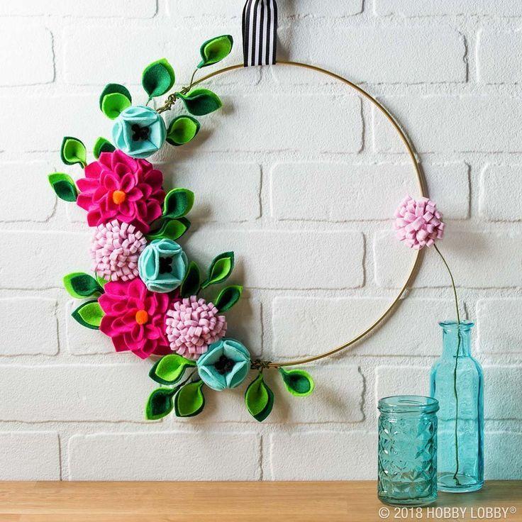 Create An Adorable Felt Flower Hoop Wreath We Ll Show You How To