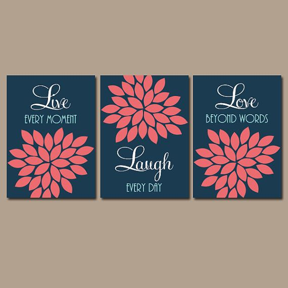Navy Coral Wall Art CANVAS or Prints Live Laugh Love by TRMdesign
