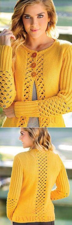 Вязание спицами - Желтый жакет спицами