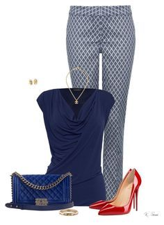 """""""Jacquard Pants"""" by ksims-1 ❤ liked on Polyvore featuring NYDJ, James Lakeland, Christian Louboutin, Chanel and Blue Nile"""