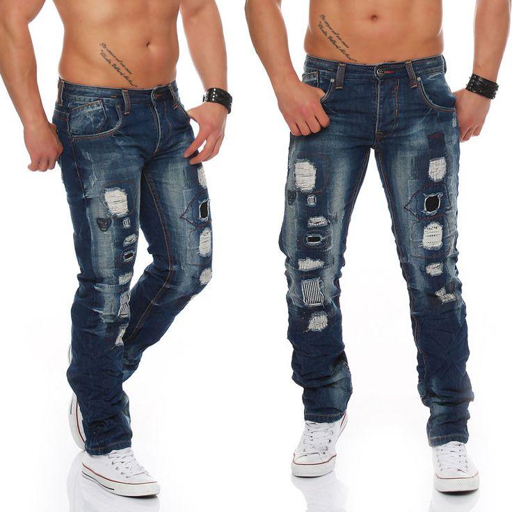 Jeansnet Jeans Destroyed Cargo JN2205 Skinny Slim Denim Fetzen Used Hose Herren