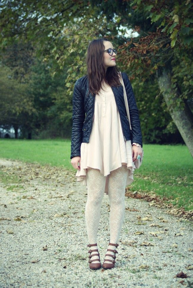 White Lace Tights Brown Lace Up Wedges And Black Jacket