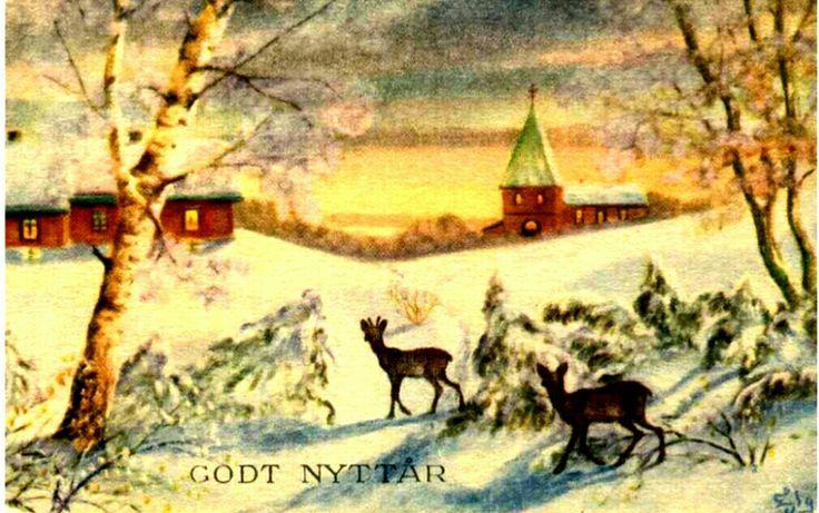 Nyttårskort/Julekort E Lilloe Gran Norsk arbeid J.H.Küenholdt Stemplet 1949