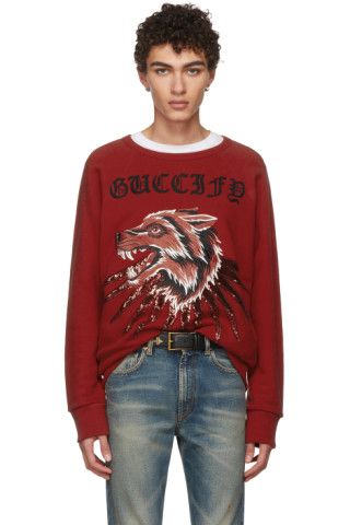 db6c2d569 Long sleeve French terry sweatshirt in red. Rib knit crewneck collar,  cuffs, and hem. Multicolor embroidered text and graphic featuring sequinned  detailing ...