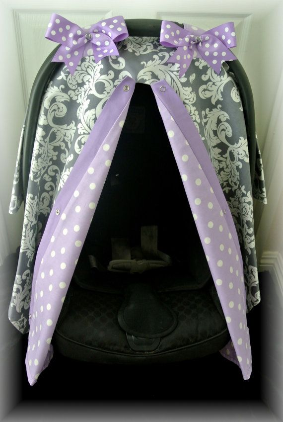 Purple And Grey Infant Car Seat Covers