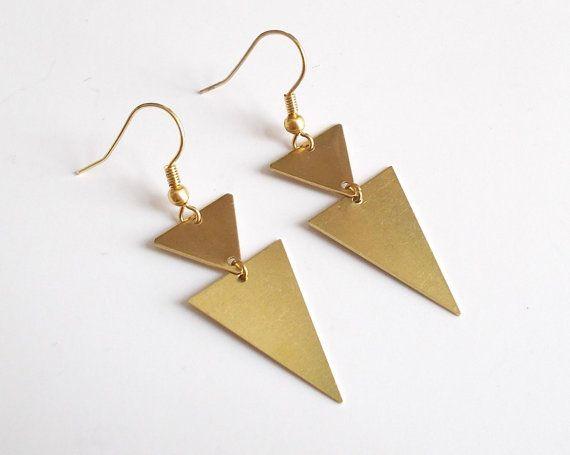 Gold Triangle Dangle Earrings - Drop Brass Geo Geometric Abstract Jewelry -Simple Edgy Modern Earrings Golden Spear Arow Native Tribal Aztec...
