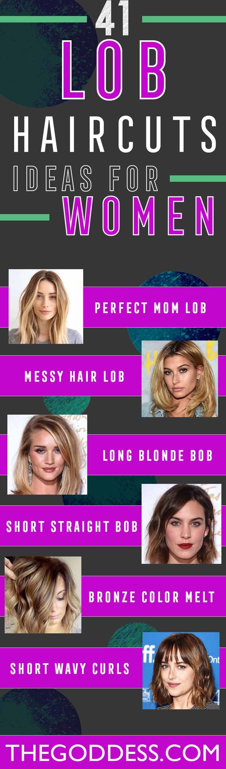 41 Lob Haircut Ideas For Women - What is a lob? Step by step easy tutorials on how to cut your hair for a lob haircut and amazing ideas for layered, and straight lobs. Ideas for lobs with bangs, thick hair, wavy and thin hair. For long hair and medium hair. For round faces and sharp features - thegoddess.com/lob-haircut-ideas-women