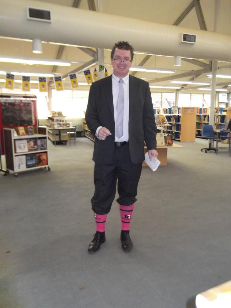 Mr Dunkley on Pink Socks' Day - 15/5/13