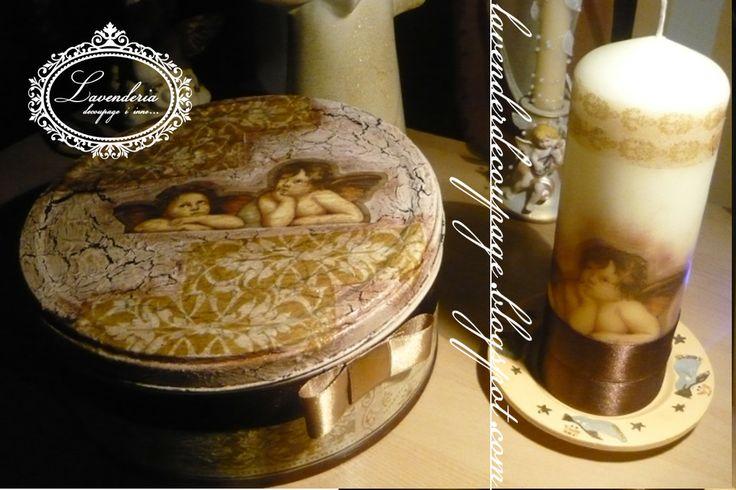 """Pudełko i świeczka """"Aniołki"""" w stylu vintage,ozdobione techniką decoupage"""