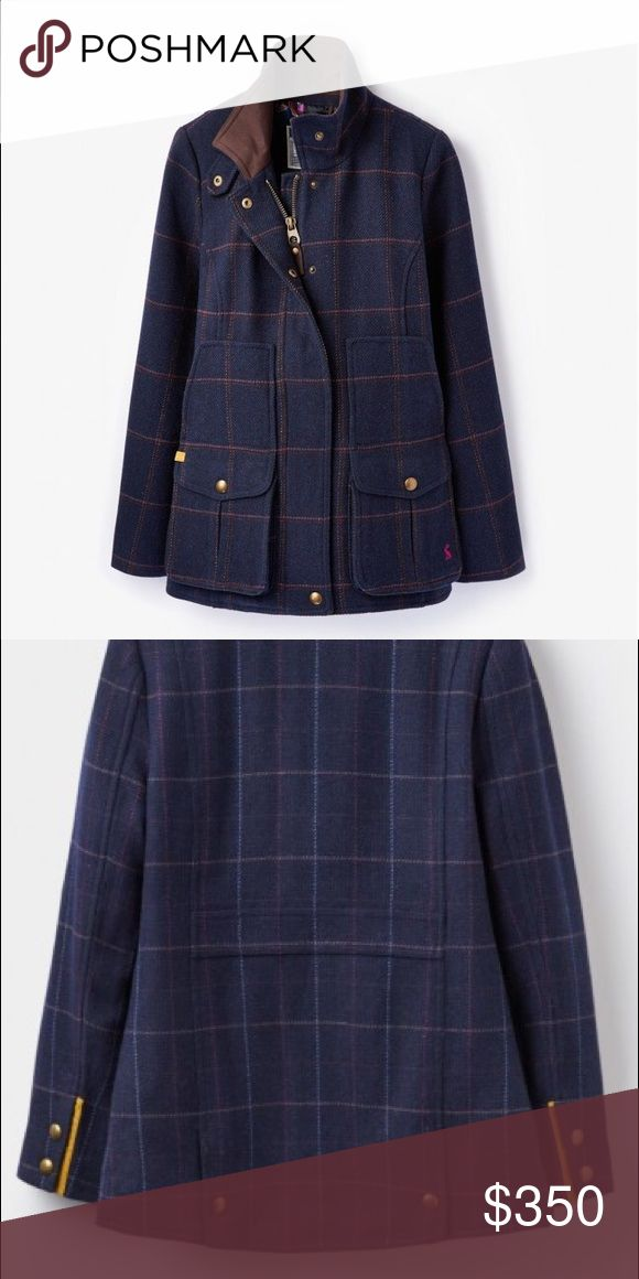 Joules Field Coat - gorgeous and warm size 4 Brand new, only tried on for size Joules tweed field coat. This coat is beautiful navy and pink plaid with a brown suede collar and gold details. Fully lined in a gorgeous floral pattern.  Sadly is just a bit to narrow for my farm girl shoulders. Sells new for $390 dollars, this is a steal! Size US4. I also have it listed in eBay starting at $300. Joules Jackets & Coats