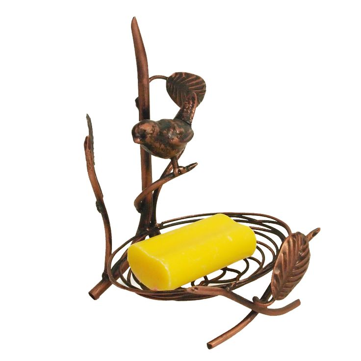 The metal soap holder is large enough to hold different sized soaps. It is a lovely accent to kitchen main bath or guest bath. A whimsical little bird is perched on a branch of the holder. It brings charm to the bathroom. The holder is a great accent to the home décor or a gift item for the bird lover.