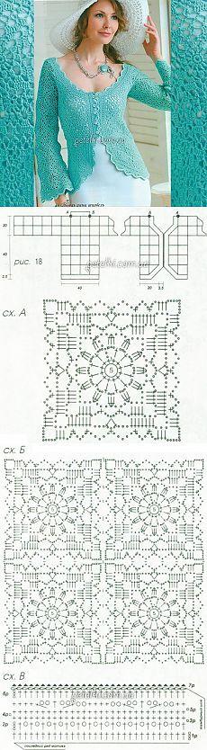 Ажурный жакет из квадратных мотивов