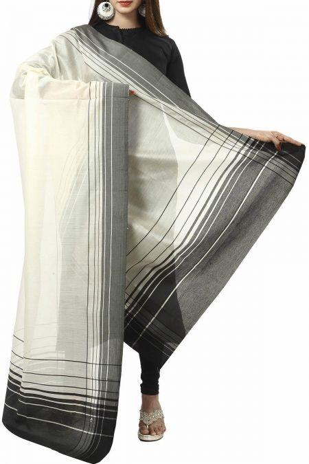 Beige & Black Striped Cotton Silk Maheshwari Dupatta