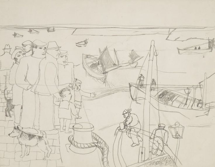 St. Ives (1928) by Christopher Wood, pencil drawing, Kettles Yard