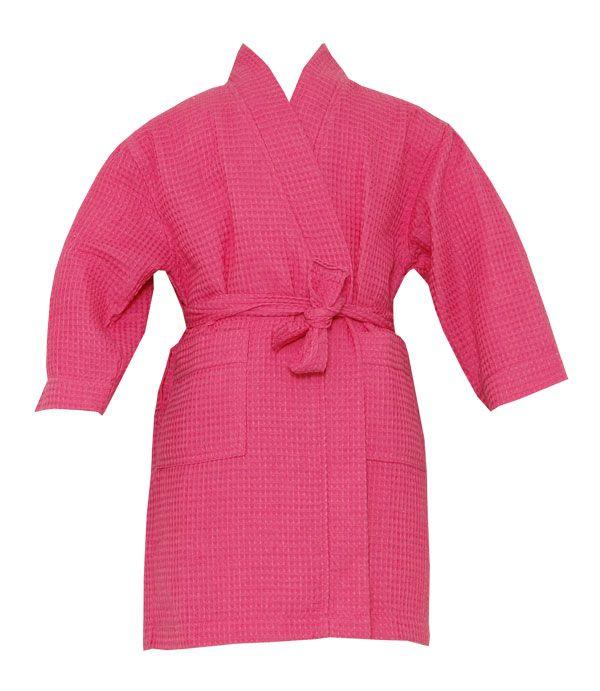 Pendergrass Kids Spa Fuchsia Waffle Kimono Robe #bathrobeshoppe www.bathrobeshoppe.com