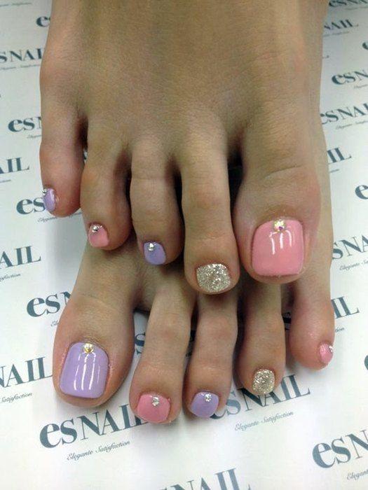 Verzierte Nägel der Füße elegant, einfach und hübsch 【2018