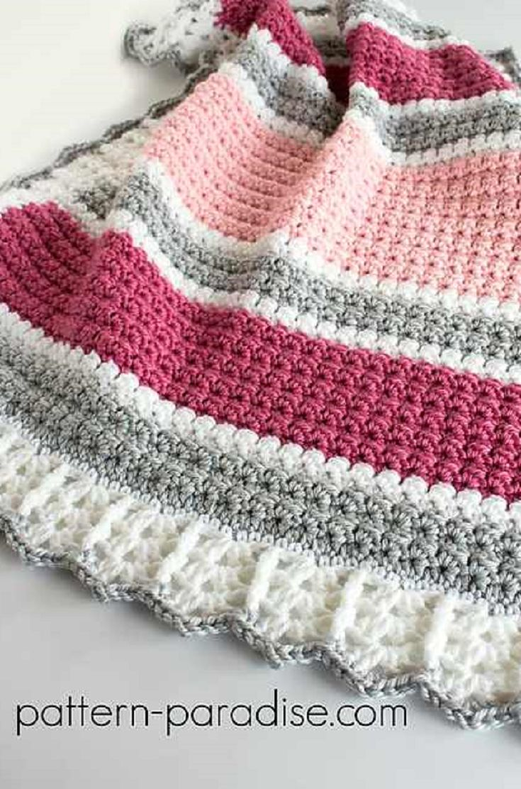 Beautiful Baby Blanket Pattern With Many Color Choices