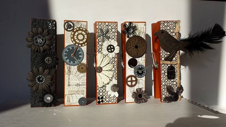 Extra Large Clothespin Photo/Note Holders Steampunk