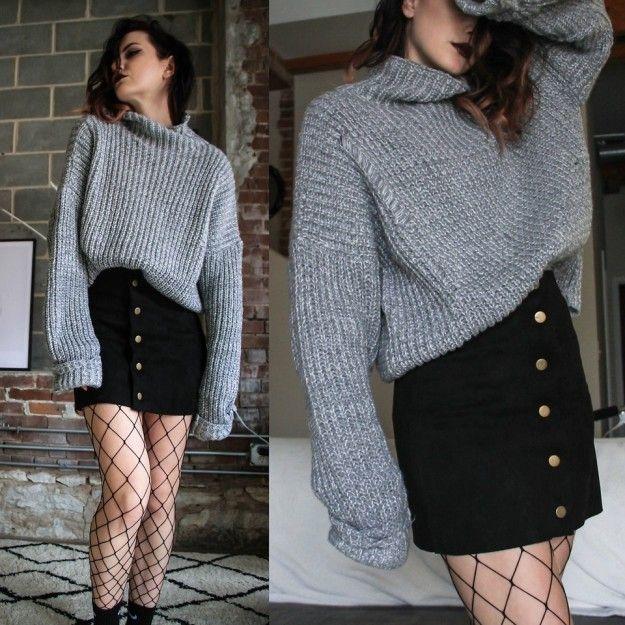 Una falda y medias de huecos grandes: WIN. | 16 Maneras de usar medias de red y lucir estilosa