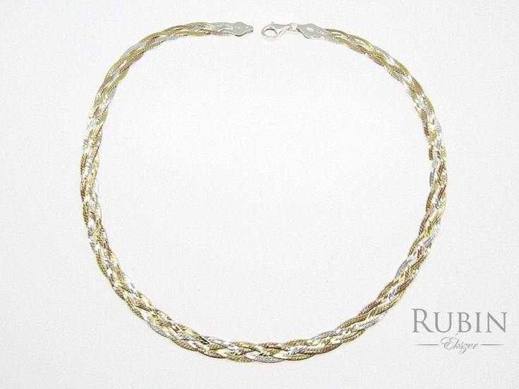 Három színű fonott ezüst lap nyaklánc