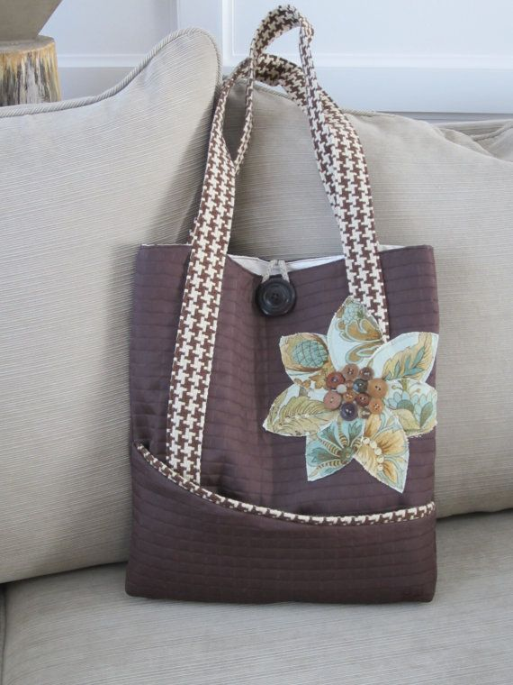 Brown tote bag houndstooth tote bag green by BerkshireCollections, $44.00