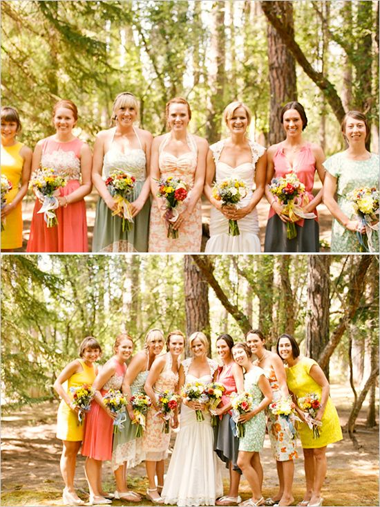 colorful bridesmaid dresses..not sure I like this combination... the bridesmaids should compliment the bride, not overtake her!  In this pic...where is the bride!  Oh, there she is...