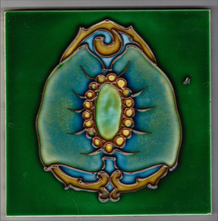 TILE WITH A TRUE ORGANIC ART NOUVEAU DESIGN TUBELINED CLEVELAND C.1903-1905 6IN. #ArtNouveau