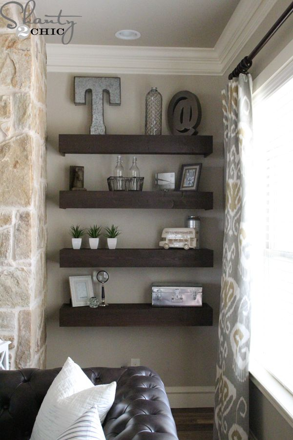 Hey there! Join us on Instagram and Pinterest to keep up with our most recent projects and sneak peeks! Hey guys!! I am so excited about this project that I'm sharing today!!! I built the 8 floating shelves you see there for only $120!!! Each shelf is 4 ft. long and 12 in. deep! How {...Read More...}