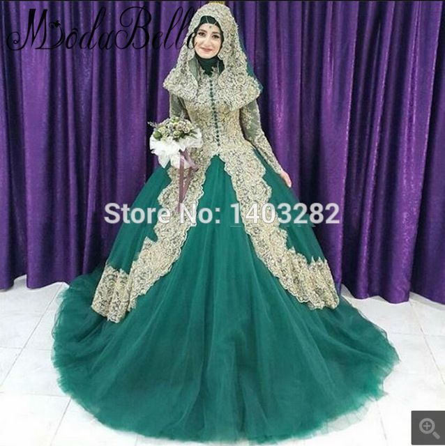 Muslim Gold Lace Ball Gown Long Sleeves Prom Dresses 2017 Plus Size Arabic Women High Neck Hajib Prom Gowns Bridal Party Dresses