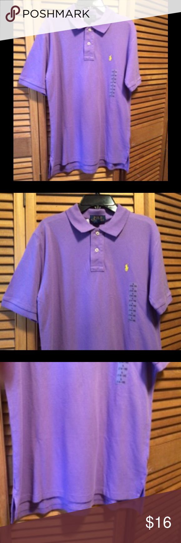 Ralph Lauren Purple Polo Shirt Purple polo shirt with yellow RL pony logo. Youth large 14-16. 100% cotton. NWT Ralph Lauren Shirts & Tops Polos