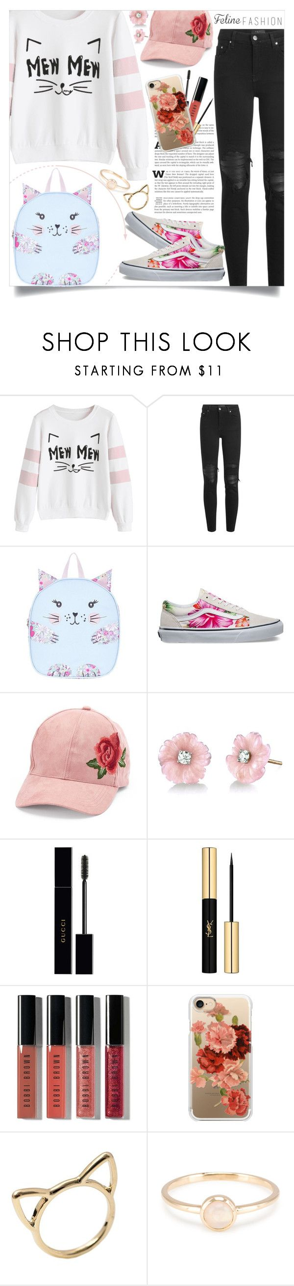 """""""Valentin Bossio - Feline Fashion"""" by valentin-bossio ❤ liked on Polyvore featuring AMIRI, Monsoon, Vans, David & Young, Irene Neuwirth, Gucci, Yves Saint Laurent, Bobbi Brown Cosmetics and Casetify"""