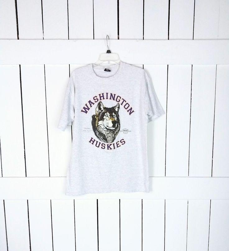 90s vintage grey washington huskies football team etsy